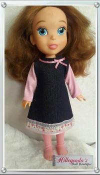 Denim with pink mini dress set for Sofia