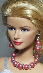 Tea rose jewelry set for Barbie dolls