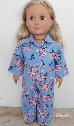 Blue with pink roses pajamas for 18″Our Generation dolls
