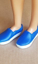 Blue shoes with white sole