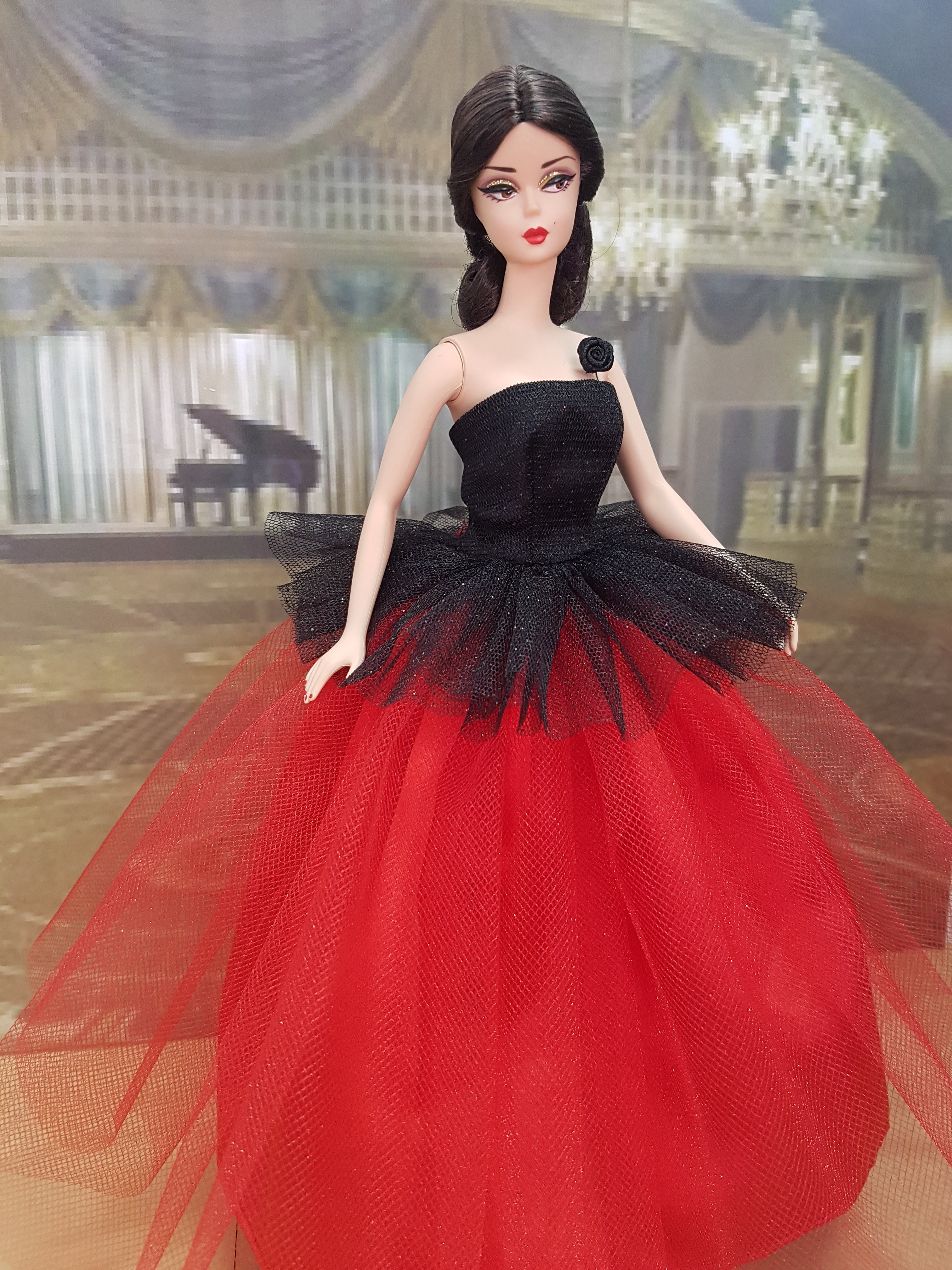 Black and red ball gown - Hillegonda\'s Doll Boutique