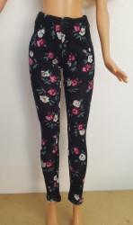 Black with pink flowers ski pants