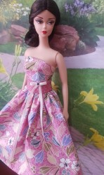 Pink and blue flower day dress