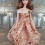 Champagne color sequined balloon dress