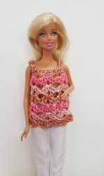 Pink and brown crochet top