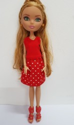 Red top and polka dot skirt for Ever After High dolls