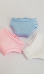 Blue, white and pink panty set