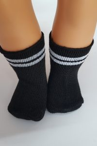 Black socks with grey stripes for 18″ dolls