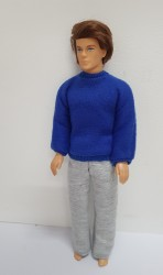 Blue sweater with grey pants
