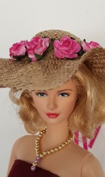 Burlap hat with pink flowers