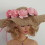 Burlap hat with apricot colour flowers