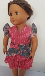 Blue and pink top and frilled skirt for 18″ dolls
