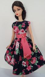 Pink roses on navy background day dress
