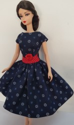 Navy and red day dress
