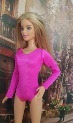 Cerise pink long sleeve leotard