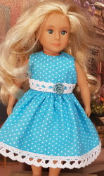Light blue polka dot dress for Lori dolls