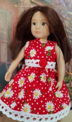 Red daisy dress for Lori dolls