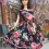 Black and pink flower roses day dress