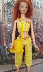 3 Piece yellow capri pants ensamble