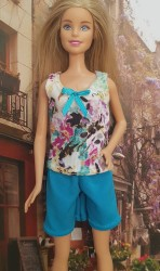 Multi colour and blue top and shorts PJ