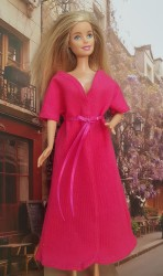 Dark pink short sleeve bathrobe IV