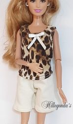 Leopard print and cream top and shorts PJ