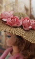Burlap hat with apricot color flowers