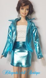 Aqua blue faux leather jacket with skirt and camisole