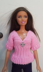 Pink crochet top for Barbie