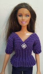 Purple crochet top for Barbie