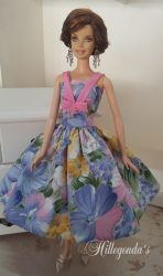 Blue and pink cosmos day dress II