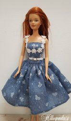Blue and white day dress