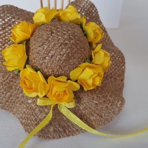 Burlap hat with yellow roses