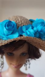 Burlap hat with blue roses