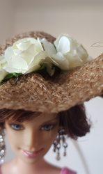 Burlap hat with cream roses