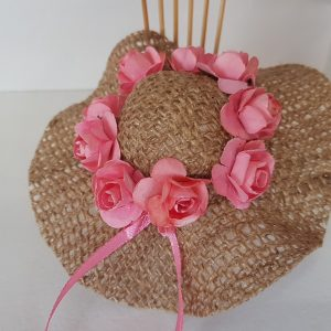 Burlap hat with salmon pink roses
