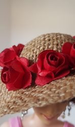 Burlap hat with red roses