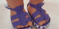 Purple sandals for 18″ dolls