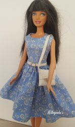 Blue day dress with handbag