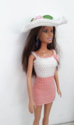 White and apricot crochet dress with hat