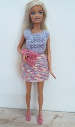 Dress with clutch bag and shoes for curvy Barbie