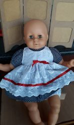 Blue and white dress for new born doll 53cm