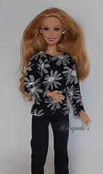 Black daisy top for Barbie dolls