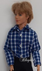Blue and black check shirt for Ken