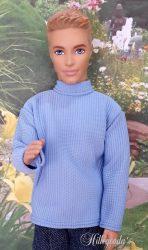 Light blue polo neck sweater for Ken