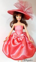 Salmon pink balloon dress with hat