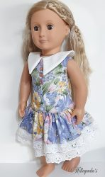 Flower dress with white collar for 18″ Our Generation dolls