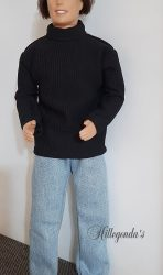 Black long sleeve polo neck sweater and blue jeans for Ken