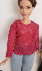 Dark pink sweater for Curvy Barbie