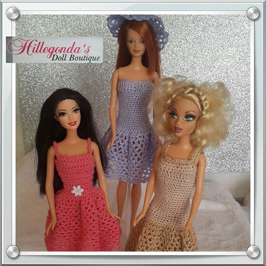 Crochet and knitted clothing for Barbie dolls